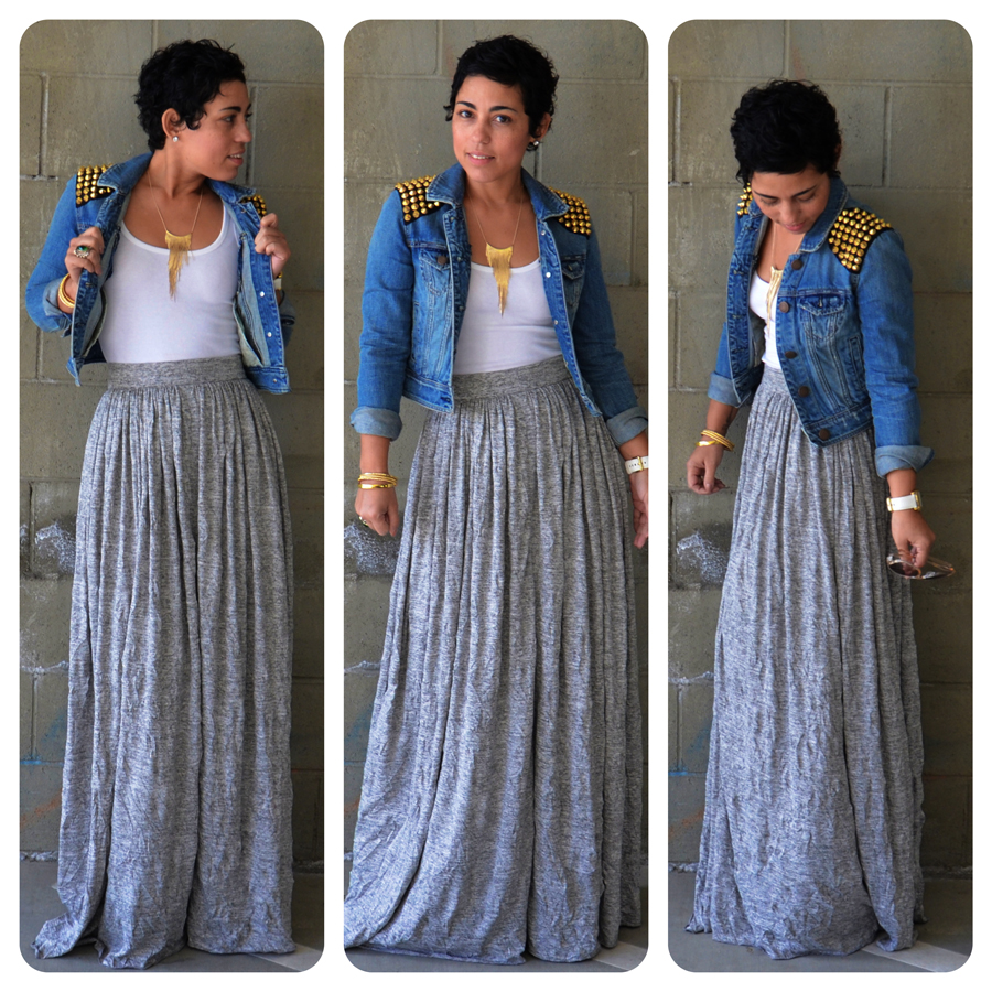 tbt post crinkle knit maxi skirt diy studded jacket