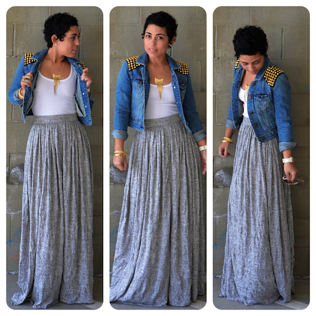 ootd diy maxi skirt denim diy studded jacket fashion
