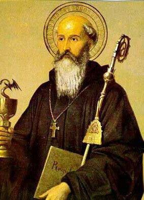 En la imagen San Benito con el baculo, el libro de la Regla Monastica y la copa envenenada.