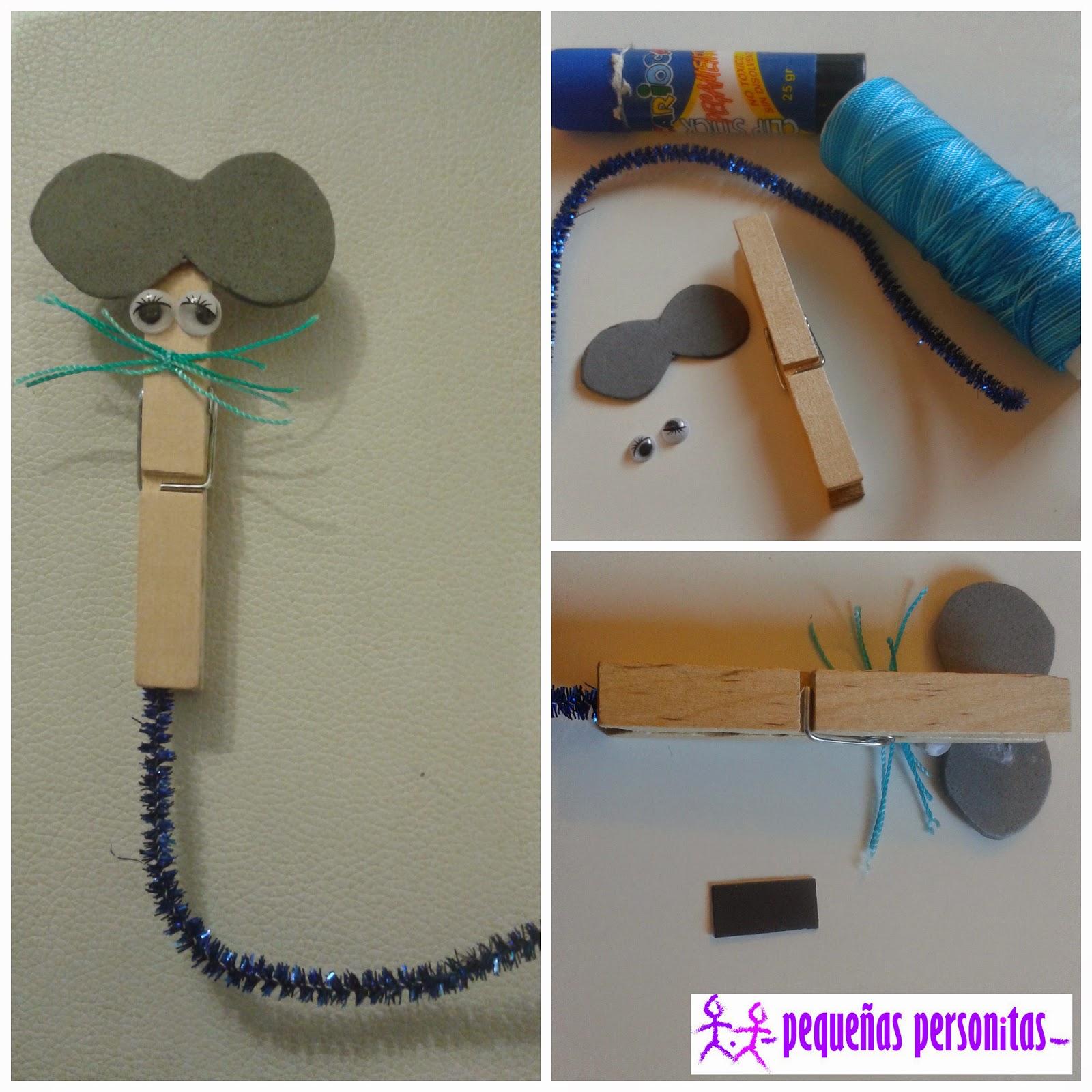 manualidades, DIY, pinzas, ratón, manualidades infantiles, manualidades fáciles, goma eva, limpiapipas, ojos móviles