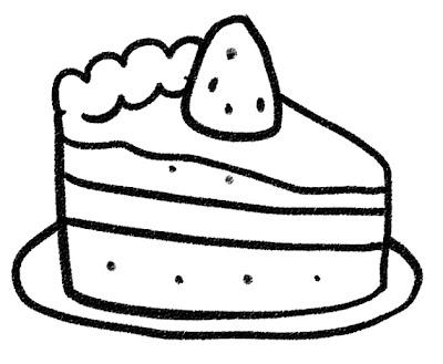苺のショートケーキのイラスト(お菓子) モノクロ線画