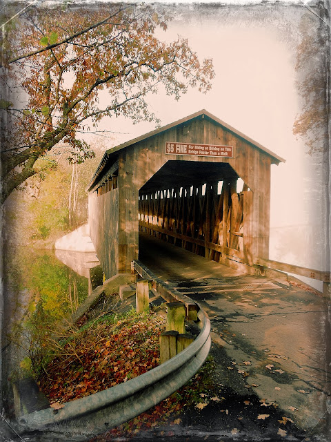 historic Lowell, covered bridge, fall colors