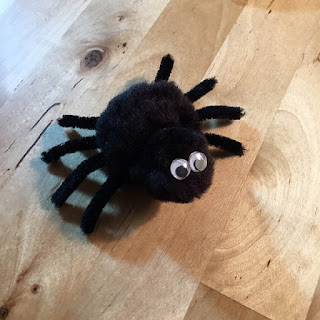 cute black pom pom spider with googly eyes