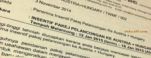 Insentif pakej pelancongan ke Austria dan Hungary secara percuma