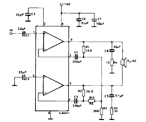 12 W Bridge Amplifier circuit diagram