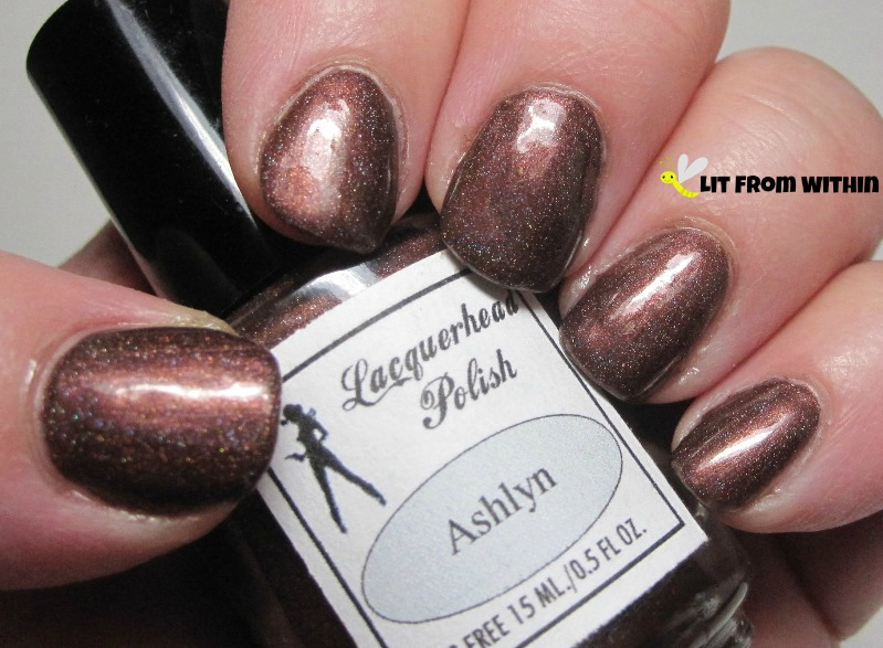 Lacquerhead Polish Ashlyn, a deep brown, bordering on plum holo