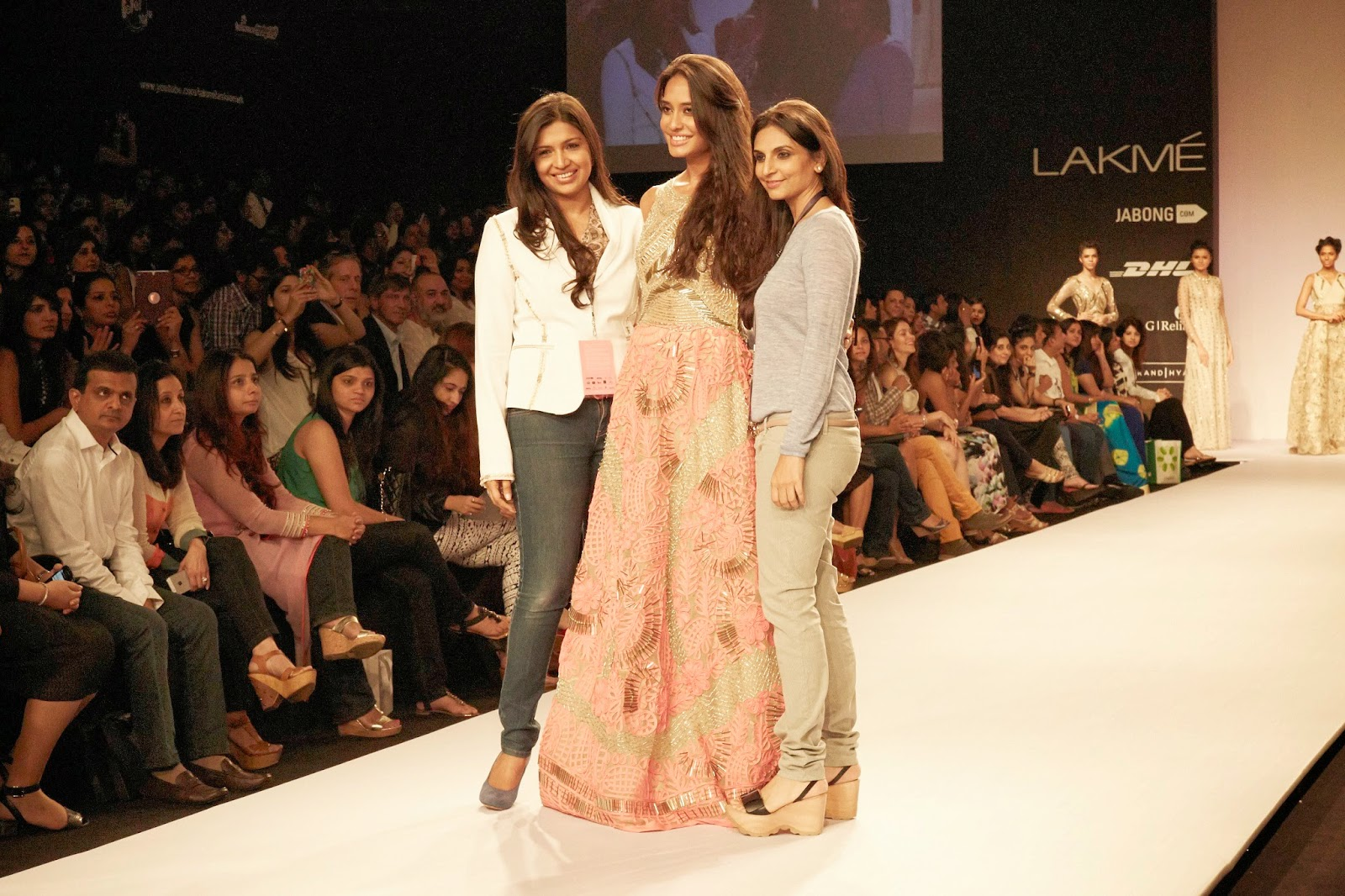 Pictures of Lisa Haydon in JADE by Karishma and Monica at Lakme Fashion Week Summer/Resort 2014