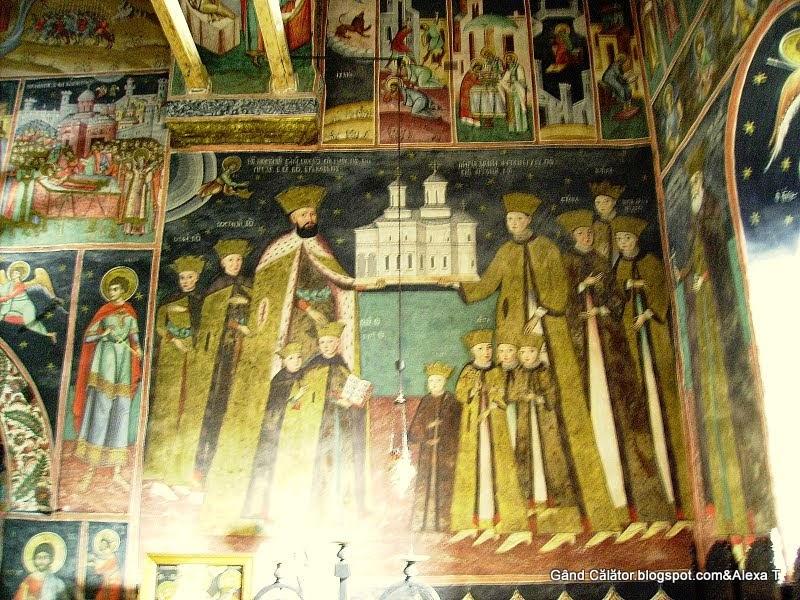 Constantin Brâncoveanu şi fiii săi, pictură murală, Mănăstirea Horezu