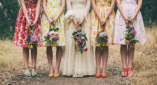 print bridesmaids dresses