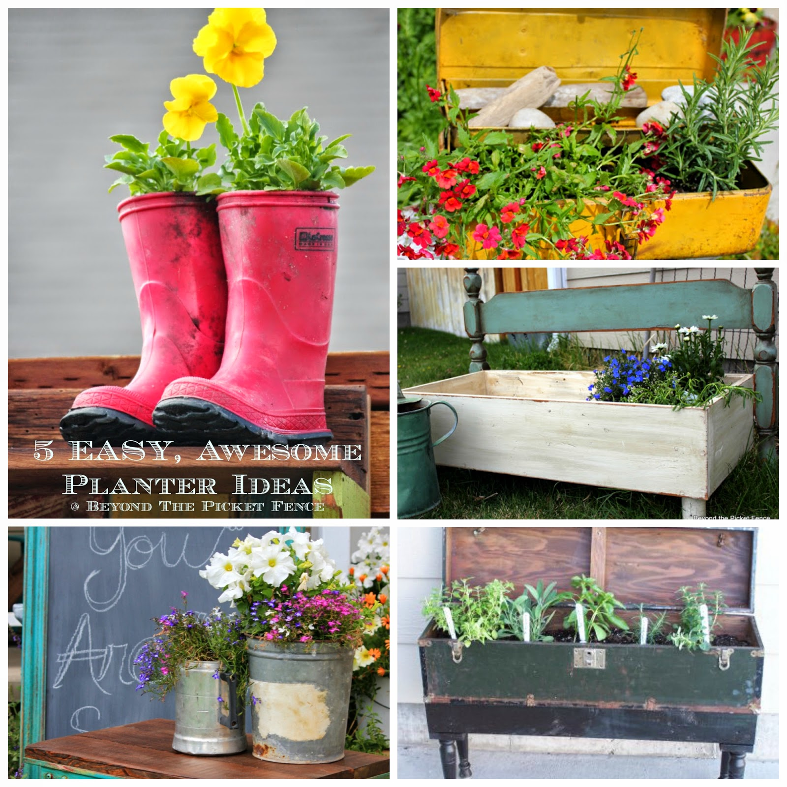 repurposed planter ideas easy http://bec4-beyondthepicketfence.blogspot.com/2014/05/5-easy-awesome-low-cost-planter-ideas.html