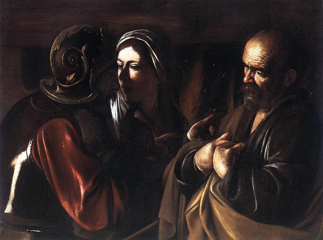 """the denial of st peter 1610 was the last year of caravaggio's life in that final year, he painted """"the denial of saint peter"""" the painting usually hangs at the metropolitan museum of art in new york city."""