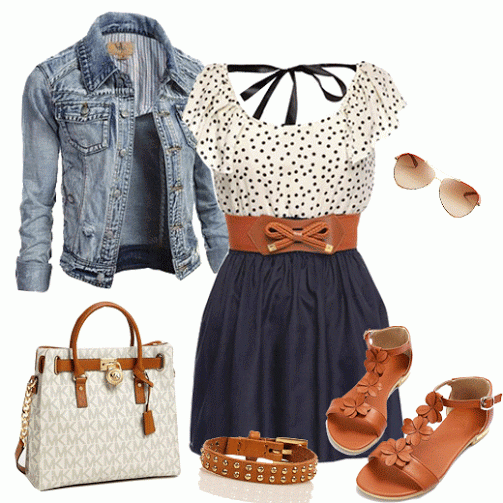 Top, Skirts , Jeans Coat, Sandals, Bag | Outfits