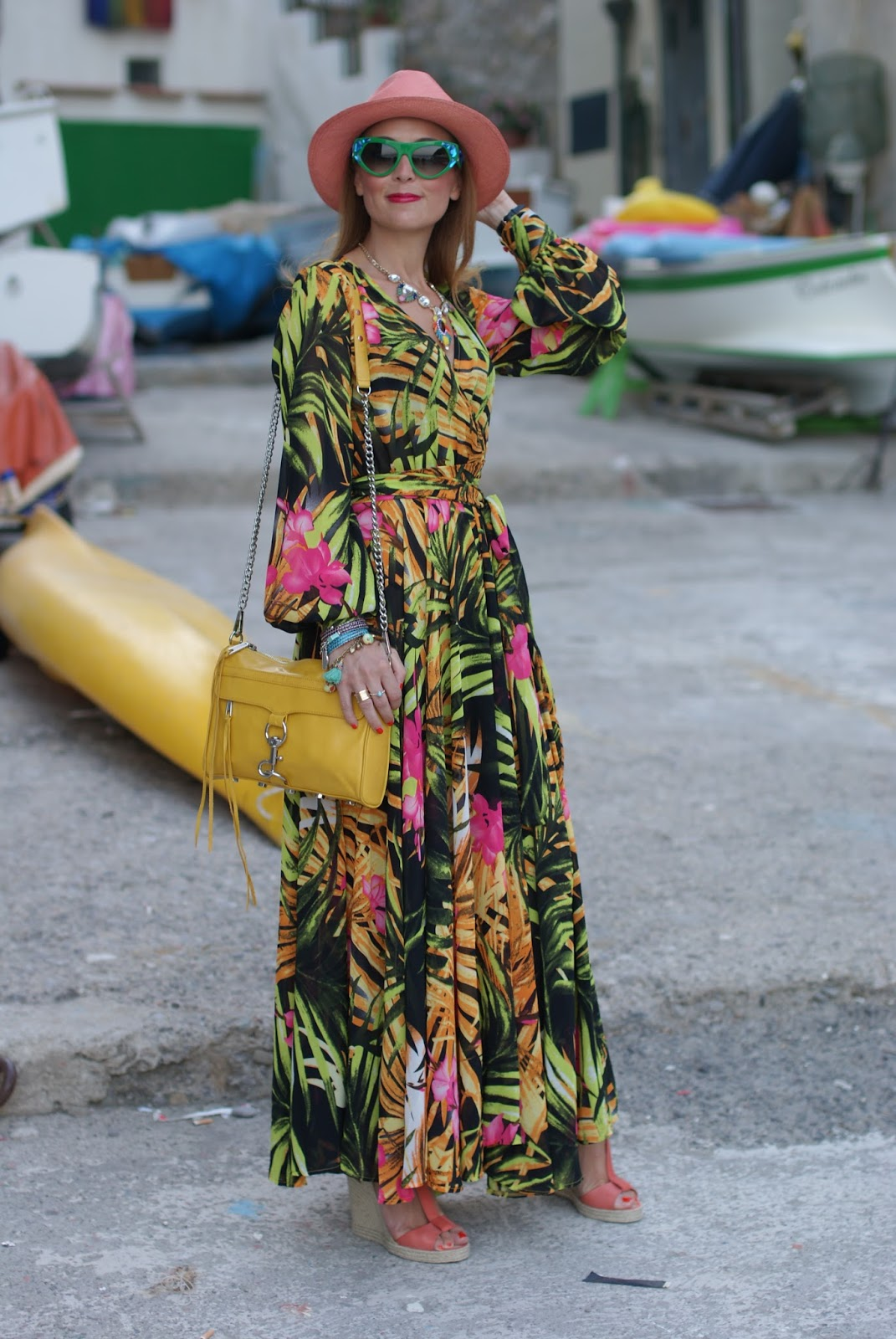 Prada voice sunglasses, walktrendy tropical print chiffon maxi dress, summer boho style on Fashion and Cookies fashion blog, fashion blogger style