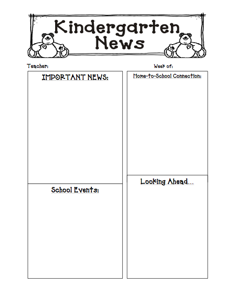 Kinders First: FREEBIE: Newsletter Template