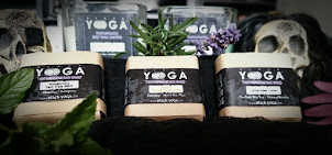 Exclusive Black Yo)))ga® aromatherapy candles and soaps