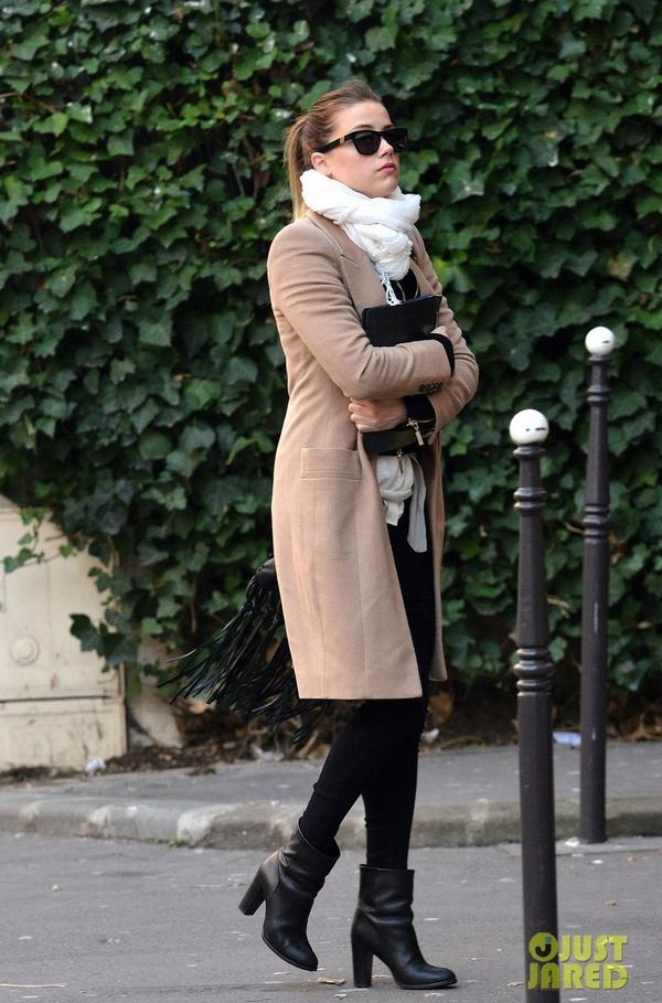 Amber Heard street style camel coat
