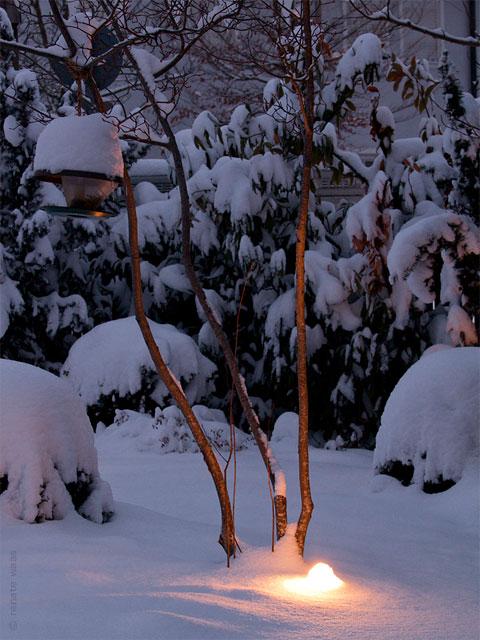 Gartenbeleuchtung Winter mit Schnee auf den Lichtern