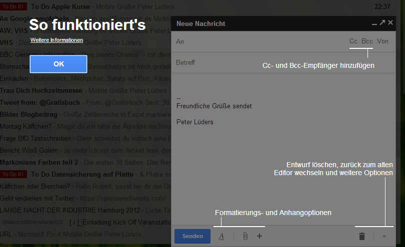 Google-Mail Editor - Erste Erklärungen