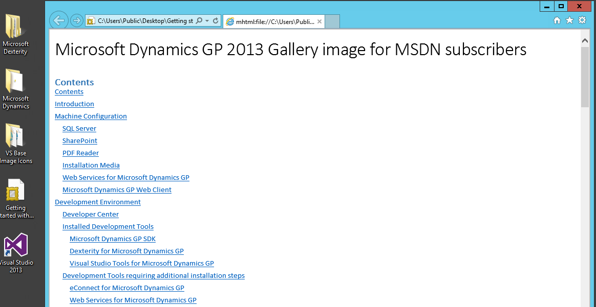 Microsoft Dynamics GP 2013 Virtual Machine image from the Windows Azure Gallery