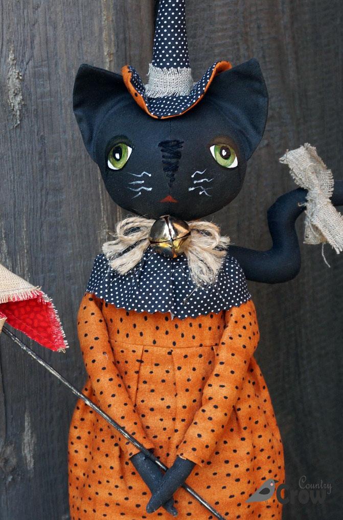 кошка, ведьма, хэллоуин, текстильная кукла