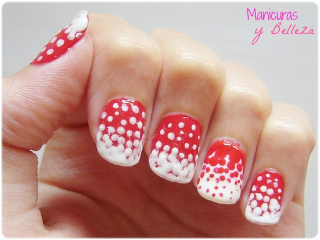 Manicura color rojo y blanco con puntos uñas Nail art dots red and white nails