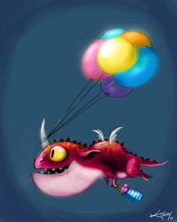 Birthday dragon with balloons and a gift
