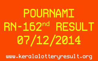 POURNAMI Lottery RN-162 Result 07-12-2014