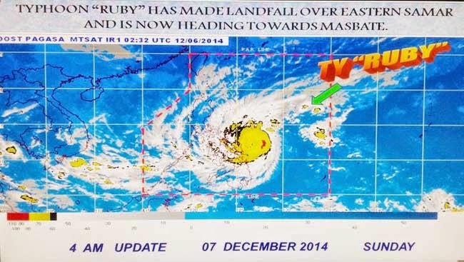News Typhoon Ruby Storm Signals and Location as of December 7, 2014 Updates