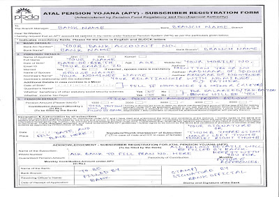 Duly Filled Atal Pension Yojana Subscriber Registration Form
