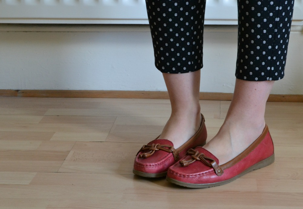 M&S red loafers deck shoes