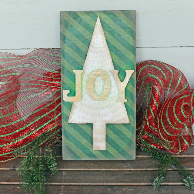 DIY JOY Christmas Canvas by Katie Smith @punkprojects