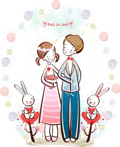 Estampas de San Valentín novios - Vector