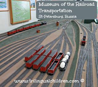 railway yard model in Museum of the Railroad Transportation St Petersburg Russia