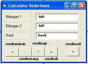 calculatorsederhana+dengan+vb6 - Program Vb6 Calculator Sederhana