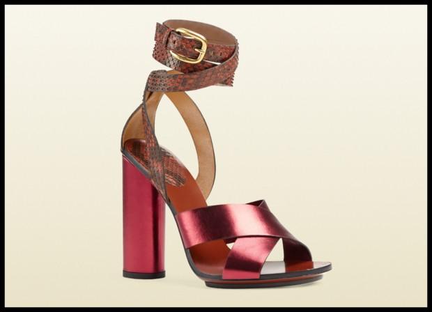 Zapatos Gucci con pitón y cuero metalizado