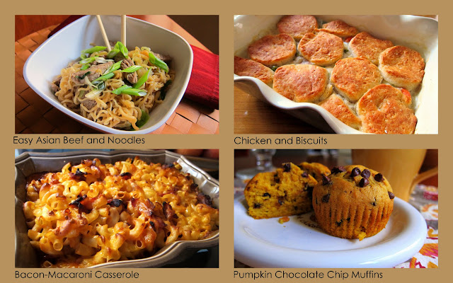Asian Beef and Noodles, Chicken and Biscuits, Bacon-Macaroni Casserole and Pumpkin Chocolate Chip Muffins