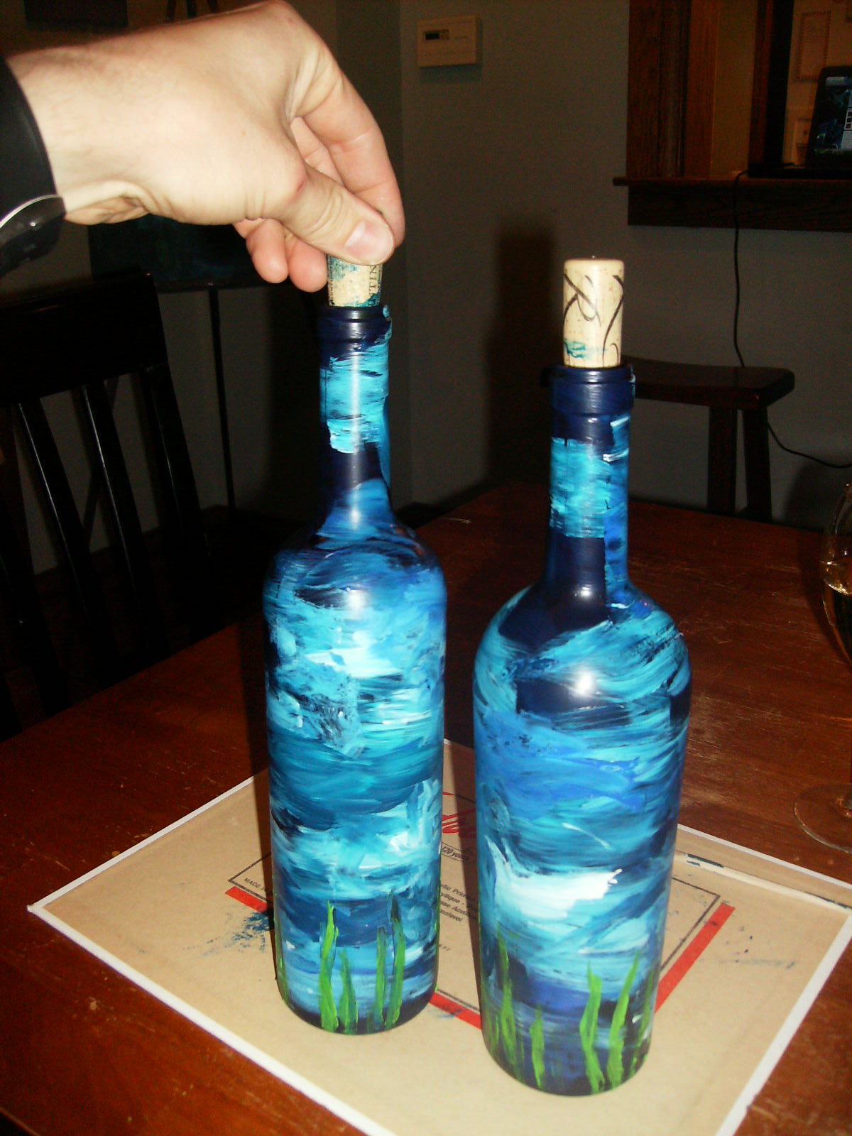 B martin art wine bottle painting for How to paint bottles with acrylic