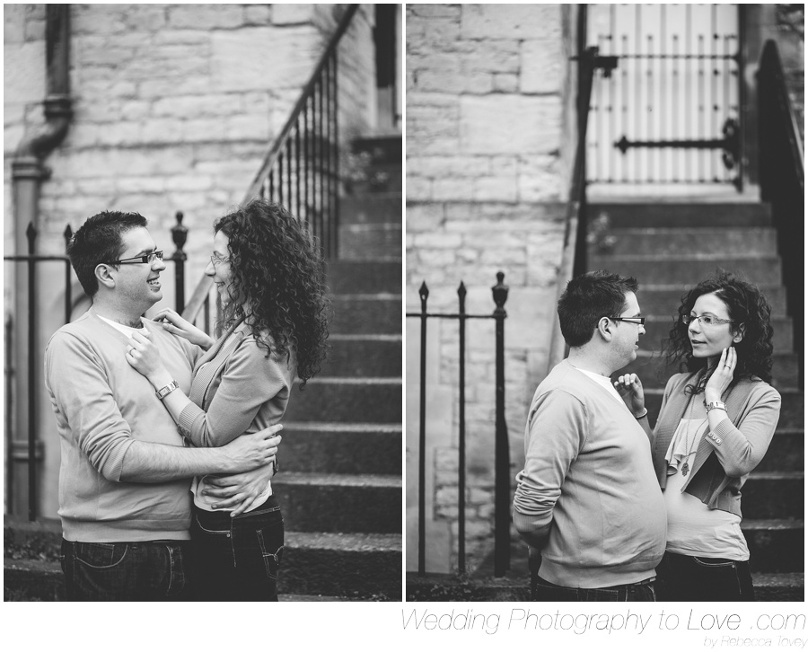 couple stood by steps in black and white photography