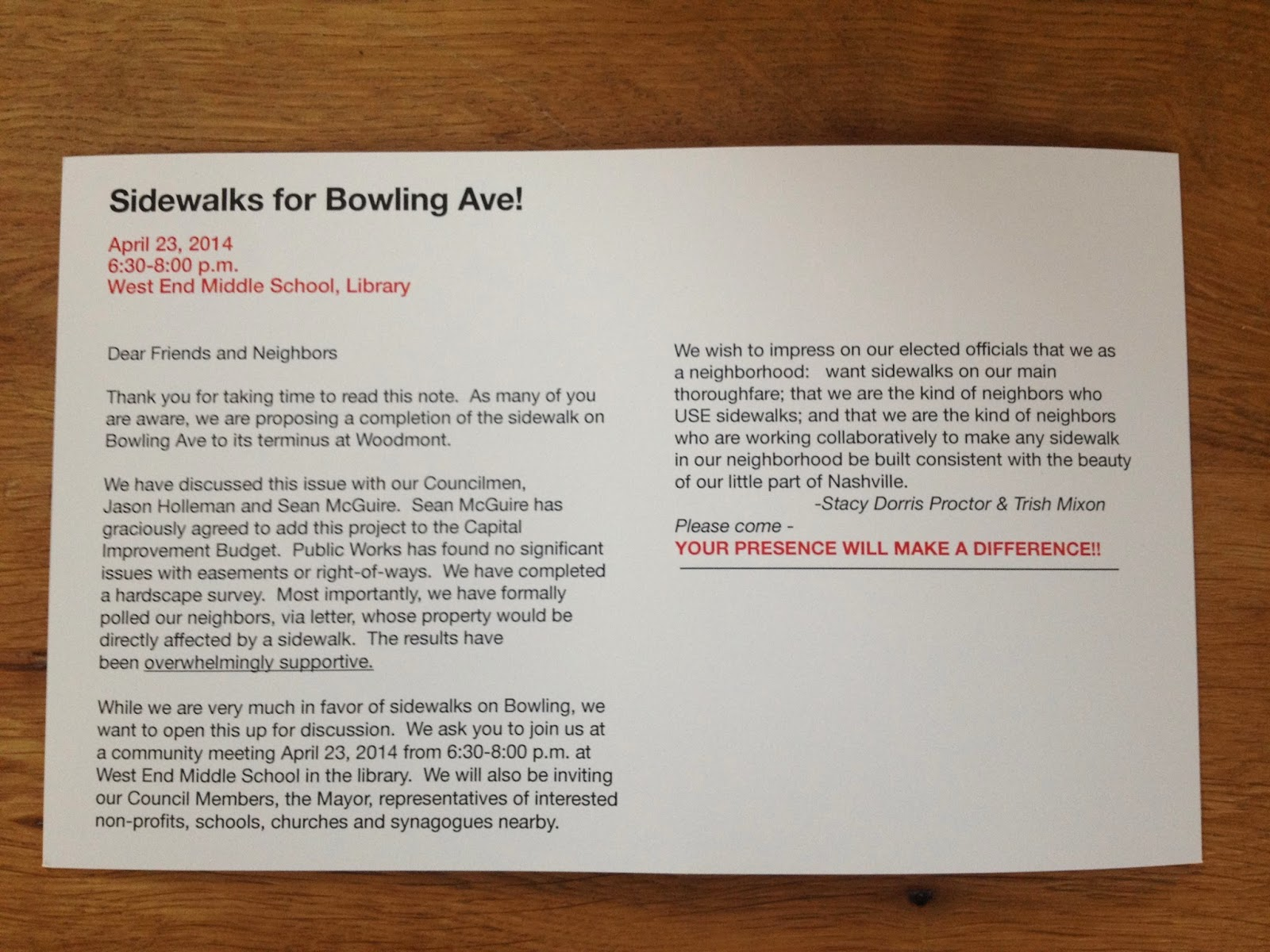 Shade parade sidewalk project 1 bowling av update invitation to public meeting april 23rd 630pm west end middle school library stopboris Images