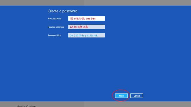 Cách cài đặt Password cho Windows 8 - mật khẩu User Admin