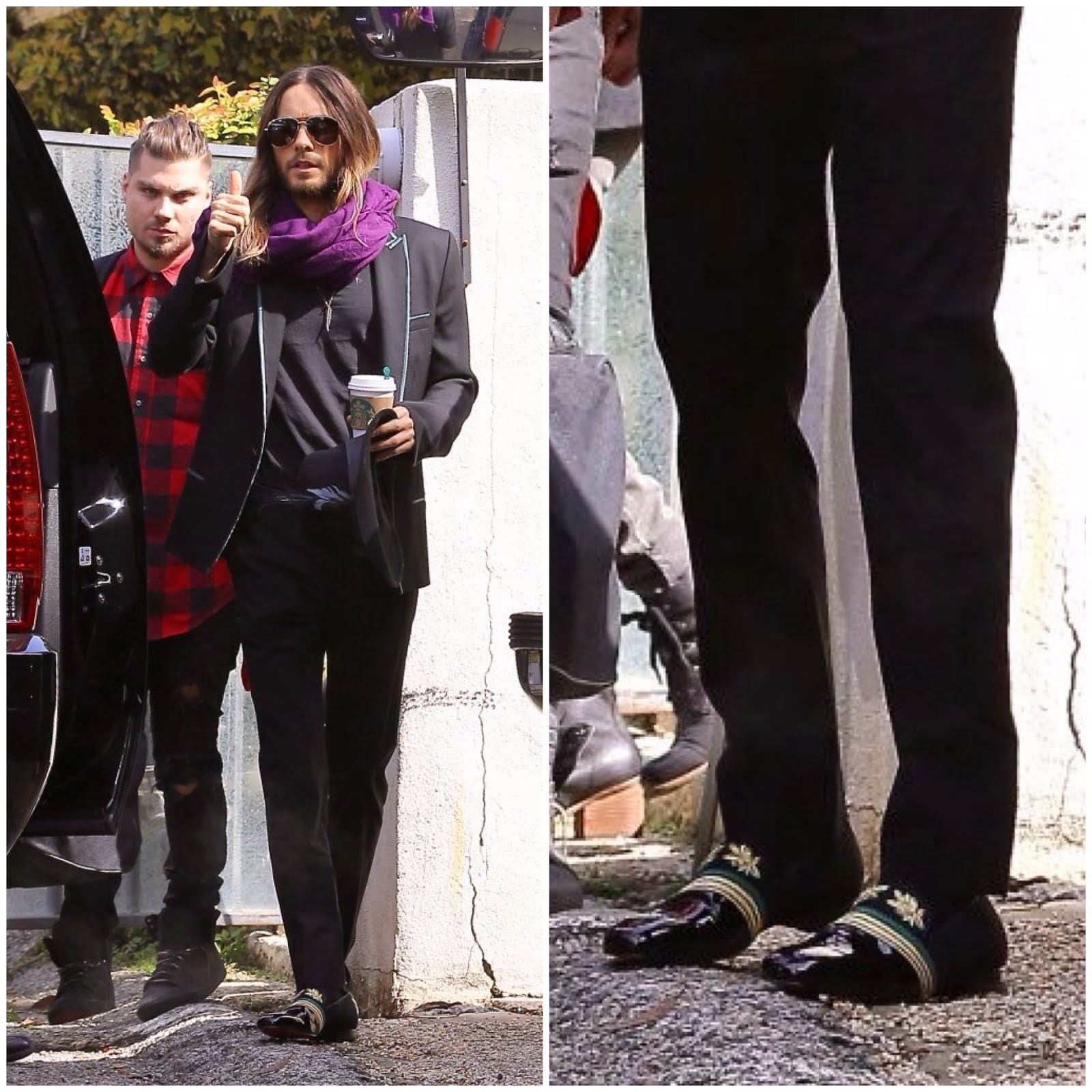 Jared Leto in Christian Louboutin 'Officier' - California Street Style