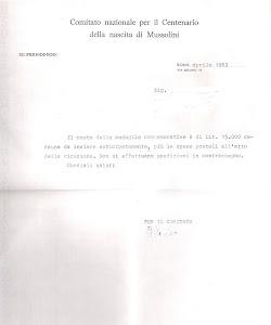 LETTERA DEL COMITATO NAZIONALE PER IL CENTENARIO DELLA NASCITA DI MUSSOLINI