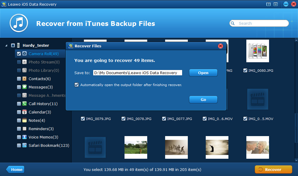 Preview and extract iPhone backup file