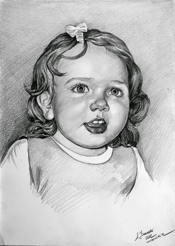 Portrett av en jente med en blyant