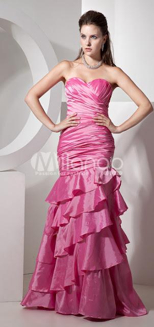 Fuchsia Sweetheart bretelles sirène trompette taffetas robe de bal