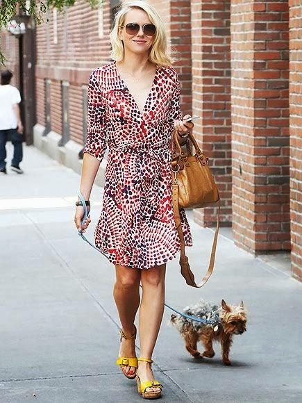 Naomi Watts vamps up the streets of New York City in a pretty patterned Banana Republic Issa London dress on Thursday as Yorkie Bob follows behind