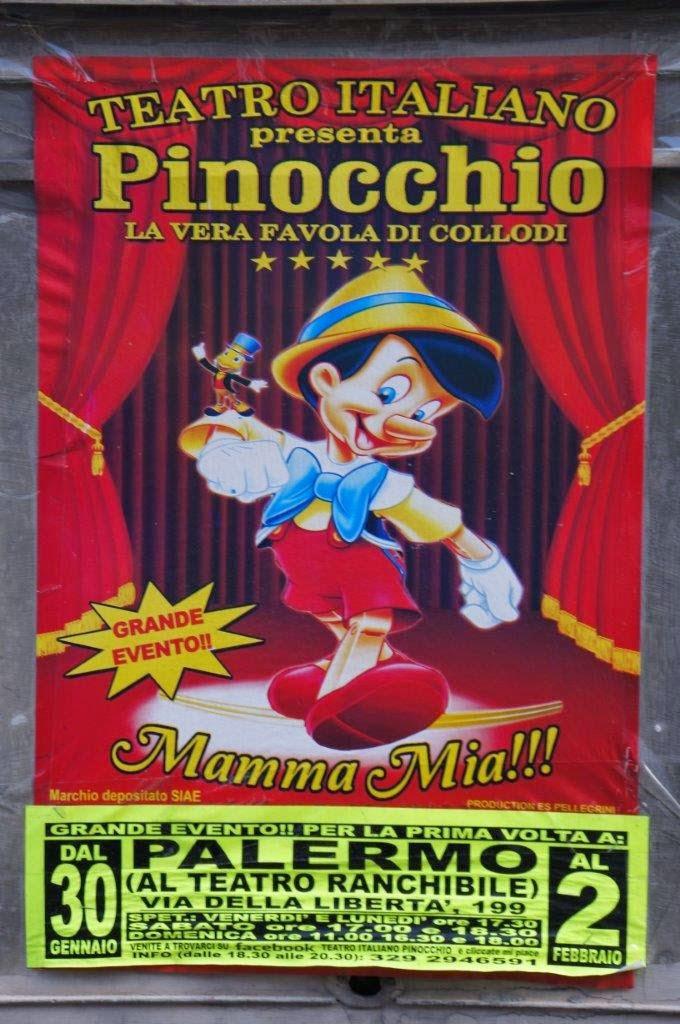 Pinocchio theatre advertisement in Palermo Sicily Italy.