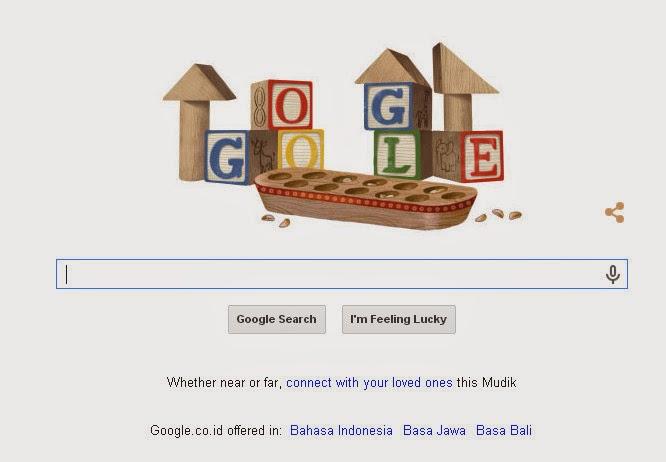 Google merayakan Hari Anak Nasional dengan menampilkan Congklak sebagai doodle