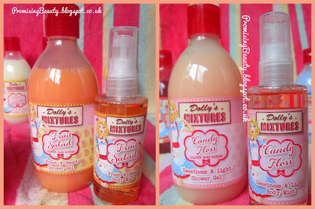 Dollys mixtures shower gels and body sprays in fruit salad and candy floss (cotton candy) flavours. Colourful, fruity, sweet, yummy flavours for bath time. With cute vintage packaging.