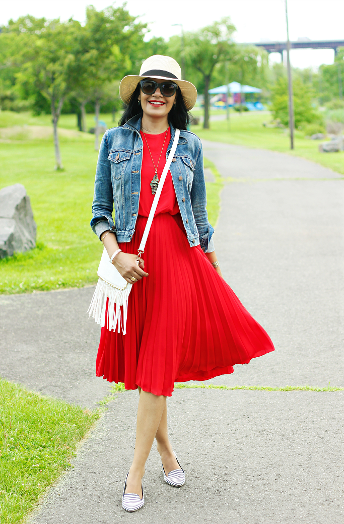 Red White Blue Outfit Ideas, July 4th Outfit Ideas, ASOS Red Dress, Gap Denim Jacket #Legal-Immigrants-Against-iIlegal-Immigration